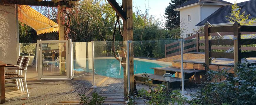 Barrière piscine verre trempé