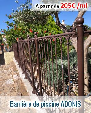 barrière de protection pour piscine en fer forgé