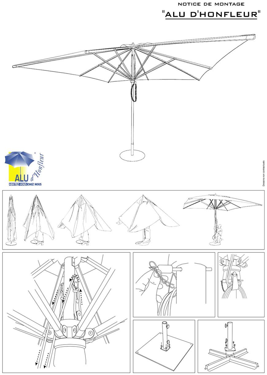 Notice parasol centré Alu d'Honfleur