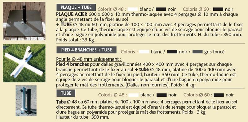 Parasol centré Alu d'Honfleur - le socle