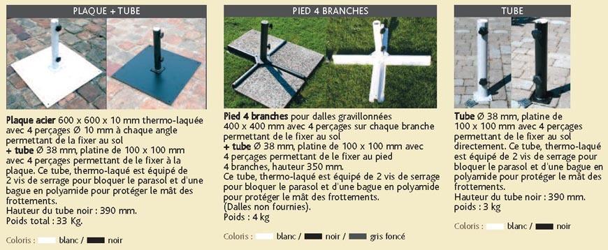 Parasol centré Bois d'Honfleur - le socle