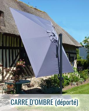 Parasol déporté haut de gamme carre d'ombre, structure et toile gris anthracite RAL 7016, manoeuvre facile