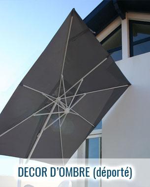 Parasol déporté haut de gamme décor d'ombre, structure et toile couleur au choix