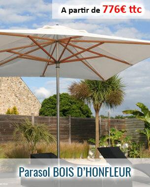 Le parasol centré Bois d'Honfleur en bambou et aluminium