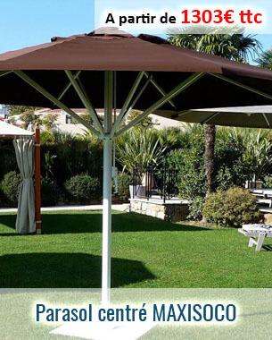 Parasol aluminium centré conçu pour les grandes dimensions