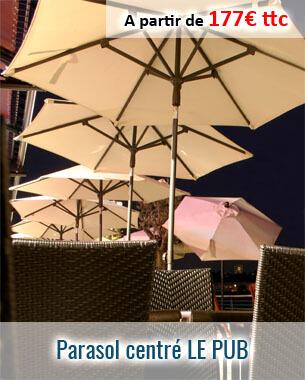 Parasol centré armature aluminium Le Pub