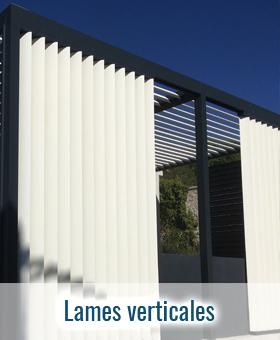 Lames verticales aluminium sur pergola
