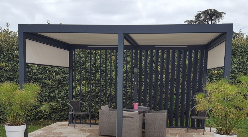 pergola aluminium tanche avec lames orientables sur mesure france. Black Bedroom Furniture Sets. Home Design Ideas
