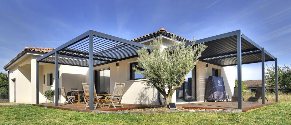 Protection solaire ambiance ext rieure - Pergola bioclimatique en kit ...