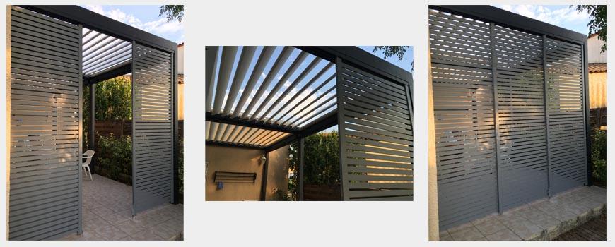 Système aluminium de panneaux coulissant pour pergola bioclimatique