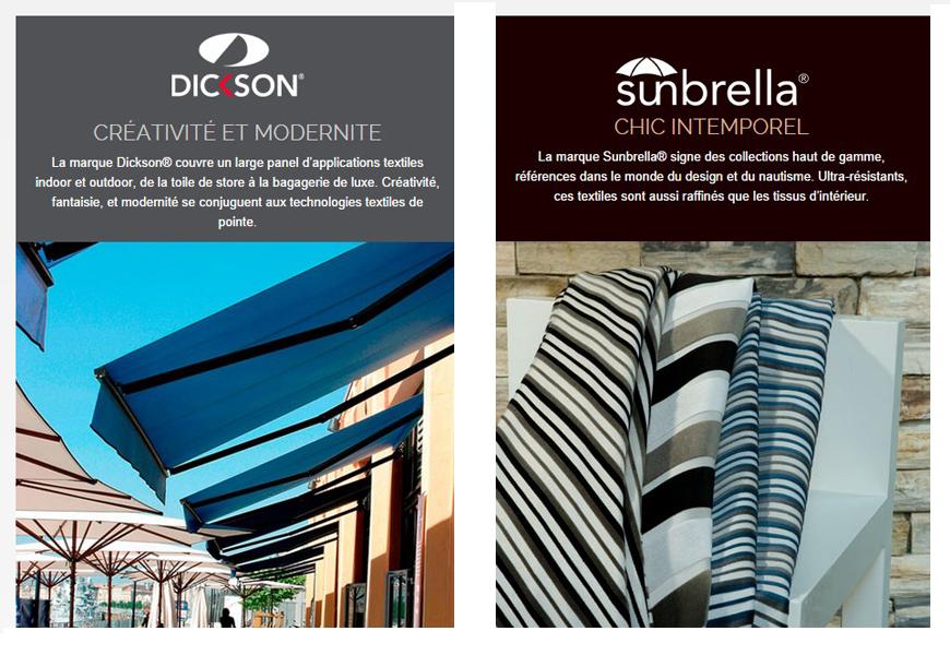 Store exterieur motorise toile DICKSON SUNBRELLA